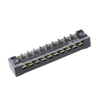 600V 15A 10 Positions Dual Rows Covered Barrier Screw Terminal Block Strip ZY