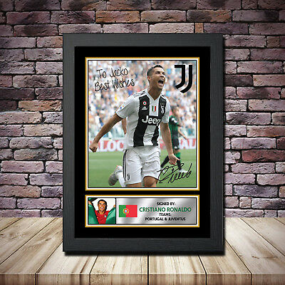 Personalised Message Ronaldo Framed Poster Autographed Print A1 A2 A3 A4