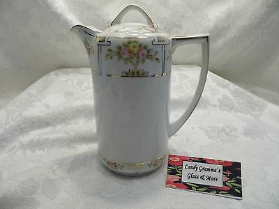 Vintage NIPPON Chocolate Coffee Pot Hand Painted Roses & Gold