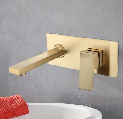 New Wall Mounted Brushed Gold Brass Bathroom Basin Square Sink Tub Mixer Faucet