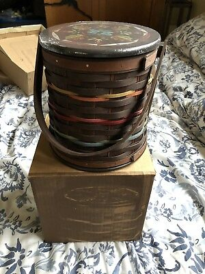 Longaberger Firkin With Lid And Box Collectors Club