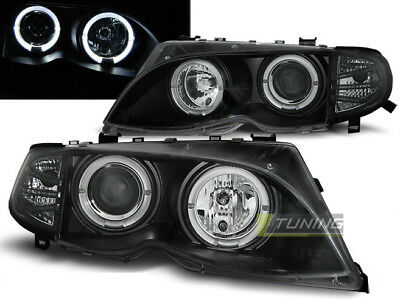 Coppia di Fari Anteriori per BMW E46 Serie 3 2001 - 2005 Angel Eyes Neri IT LPBM