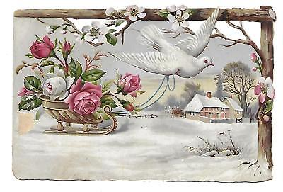 C. D. Kenny Die Cut Victorian Trade Card Dove, Roses, Snow Scene.baltimore