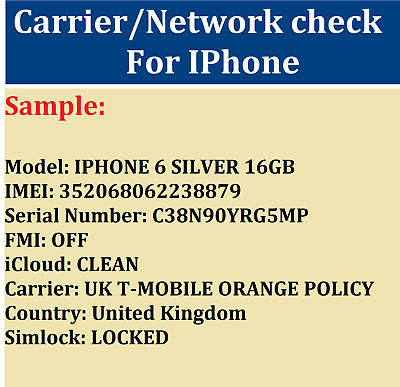INSTANT FAST IMEI CHECK NETWORK Locked To CARRIER Report For All IPhones IPads