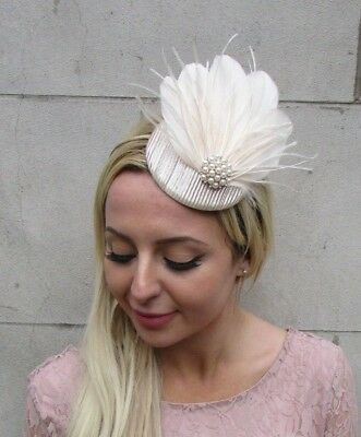 Champagne Cream Beige Pearl Feather Pillbox Hat Fascinator Races Wedding 6430