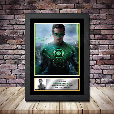 Ryan Reynolds Green Lantern Signed Framed Poster Autographed Print A1 A2 A3 A4