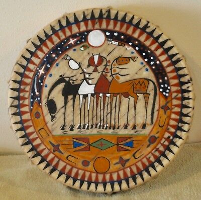 4 Amigos / Native American Drum Painted by Lakota Artist Sonja Holy Eagle