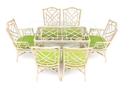 Vintage Palm Beach Tropical Rattan Fretwork Chippendale Dining Table & 6 Chairs