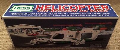 2001 HESS TRUCK HELICOPTER with MOTORCYCLE and CRUISER  BRAND NEW