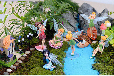 6X Flower Fairy Pixie Fly Wing Family Miniature Dollhouse Garden Ornament PV