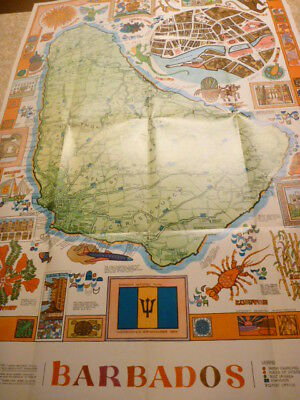 Barbados Pictorial Map Vintage 1970s Huge and Colorful Caribbean Island Map