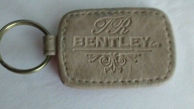 TR Bentley Beige Leather Key Ring Holder Fob Keychain  Rectanglar 2 1/4 x 1.5""