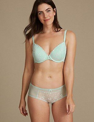 c6d404c24eb Marks Spencer M&S 2 Pack Embroidered Padded Plunge Green/Blue Bras 32 34 36  A
