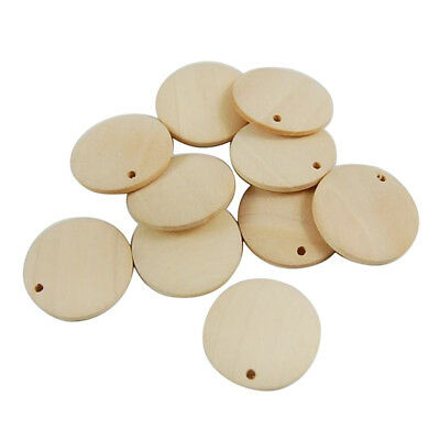 100pcs Wood Slices Round Wood Discs Wooden Circles with Holes Hanging Décor