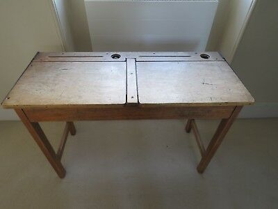 Awesome Old School Desk Ink Wells Double Desk Storage Vintage Perfect For Painting Interior Design Ideas Ghosoteloinfo