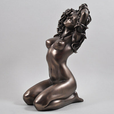 Medusa Naked Mythical Lady Cold Cast Bronze Sculpture / Figurine.New & Boxed