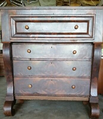 1830 - 1850's Mahogany Period Empire 4 drawer Chest - All Original Beautiful!