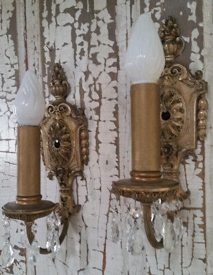 Beautiful Pair of Antique Electric Switch Wall Sconces Ornate Gold Metal Prisms