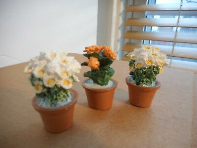 Miniature Artist Made Doll House DollHouse Potted Plants Lot of three  Flowers