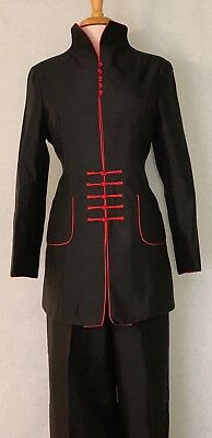 Asian Women Ladies Mediu Length Jacket Coat with  Black Color with Red Flower