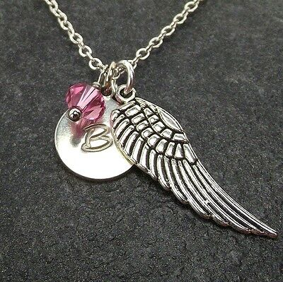 Custom Guardian Angel Wing Necklace with Birthstone from Swarovski Alphabet Disc