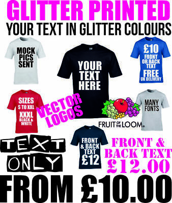 Custom Text Printing Personalised Stag Hen Unique Words Logos and designs Tshirt