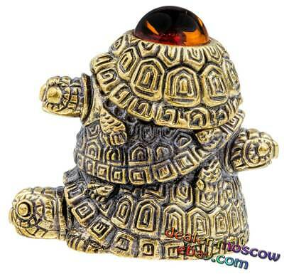 Bronze Brass Amber Thimble Feng Shui Three Turtles with a Secret IronWork