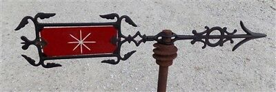 Weathervane Red Etched Glass Tail Lightning Rod No Ball Arrow Pointer Vintage d