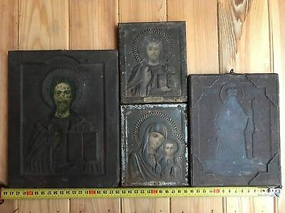 "Antique 19c Russian Orthodox Print on Metall Wood 4 Icons "" Set of 4 icons"""