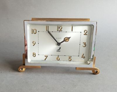 French Art Deco 8 Day clock by Jaz Chrome and Brass