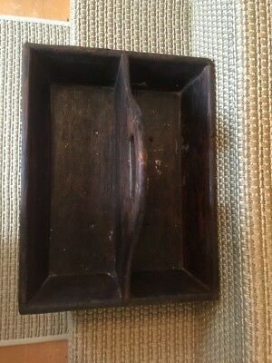 Vintage Primitive Wood Wooden Tool Caddy Carrier Tote Divided Nail Box Antique
