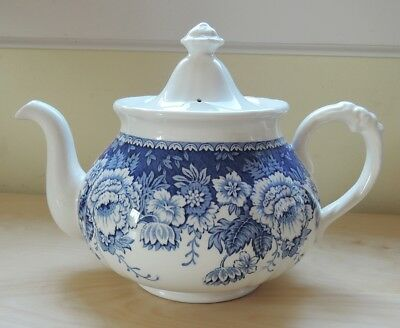 Mason's Ironstone Crabtree & Evelyn Blue and White Ivory Teapot Floral Flowers