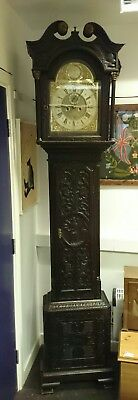 Large 8 Day Heavily Carved Decorative Oak Longcase Clock GWO