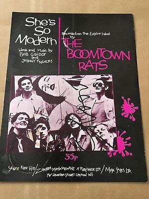 Boomtown Rats   -  Bob Geldof Signed  -  Shes Modern  Col  Sheet Music  -   Uacc
