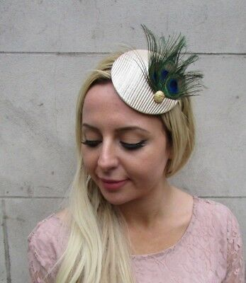 Champagne Beige Gold Peacock Feather Pillbox Hat Fascinator Races Wedding 6436