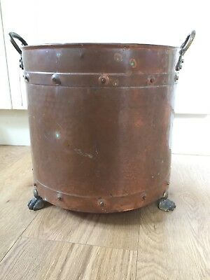 Vintage Copper And Brass Coal Log Bucket / Planter / bin with claw feet