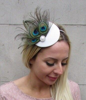Ivory Off White Green Peacock Feather Pillbox Hat Fascinator Races Wedding 6438