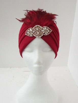 Burgundy Wine Maroon Red Rose Gold Feather Turban Headpiece 1920s Flapper 6440