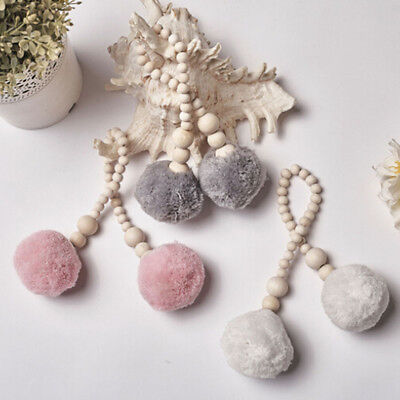 Wooden Beads Ball Pendant Wall Hanging Kids Room Home Decor With Tassel Tent B