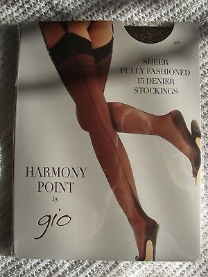 9856ab59f NEW GIO HARMONY POINT Fully Fashioned Seamed Stockings Chocolate 11 XL X  Large
