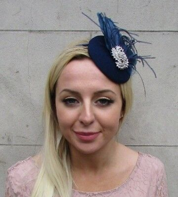 Navy Blue Silver Diamante Feather Pillbox Hat Fascinator Races Wedding Vtg 6443