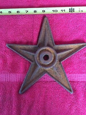 "Antique 9"" Cast Iron Star Anchor Plate Builder Wall Washer Architectural Salvage"