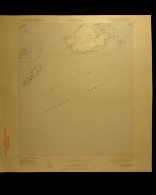 Cross Cutler Island Maine vintage 1950 original USGS Topographical chart