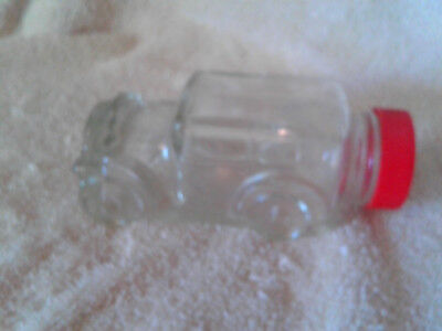 Vintage Glass Car Candy Container Bottle Jar Clear with Lid
