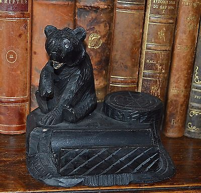 Antique German Black Forest Carved Wood Bear Inkwell and Pen Tray Desk Set