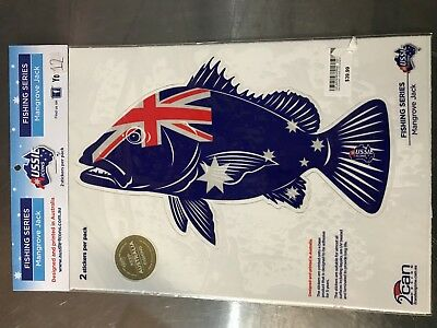 Aussie Icons Fishing Series Mangrove Jack 2 Stickers per pack RRP $39.99