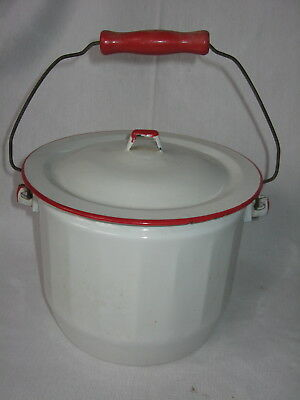 Vintage White Enamelware Bucket Red Rim Wood Handle Antique Slop Pail Pot & Lid