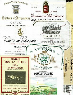 20 Different French Wine Labels - 33 Total Labels - Used