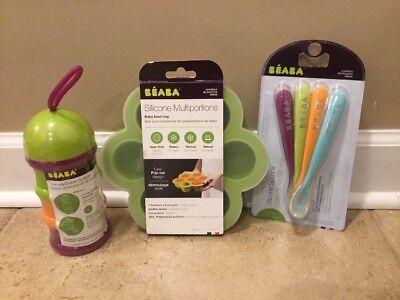 NEW 3PC Pottery Barn Kids Beaba Formula Container + Food Tray + Spoons MULTI