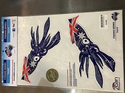 Aussie Icons Fishing Series Squid stickers matching pair RRP $14.99